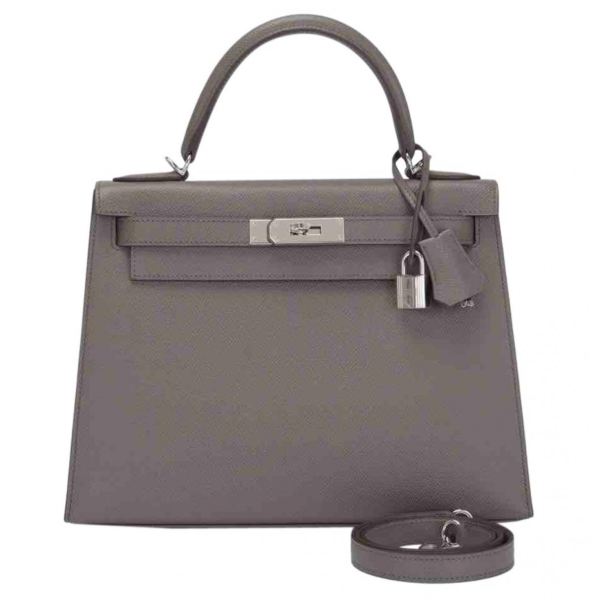 Hermès Kelly 28 Grey Leather handbag for Women \N