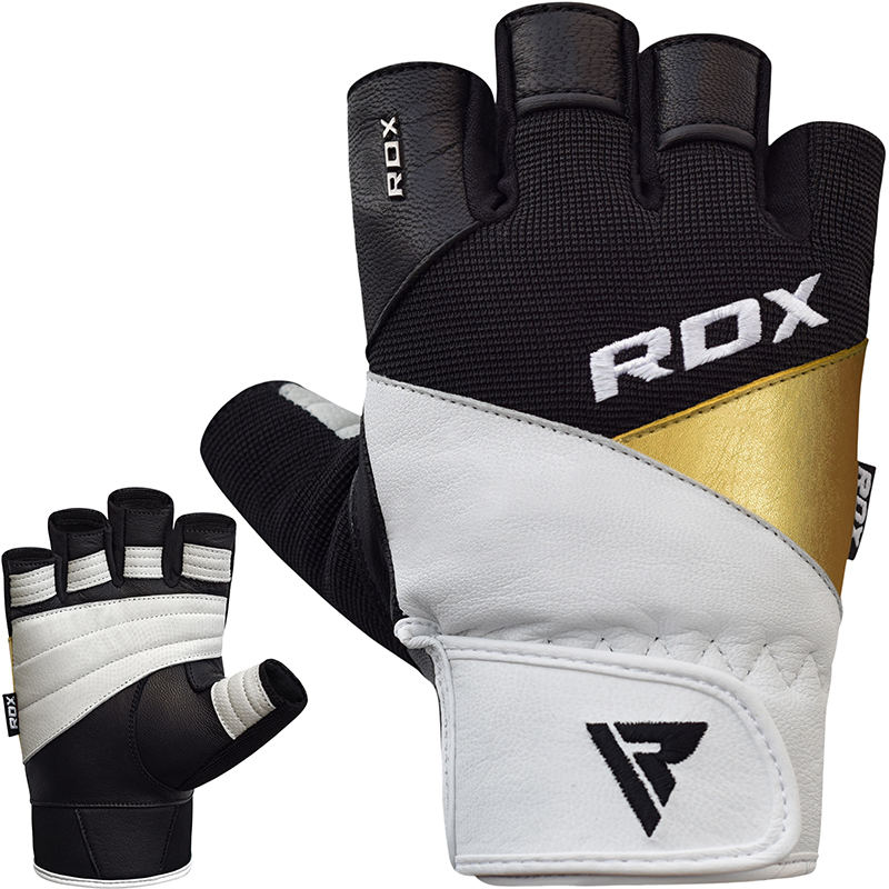 RDX S11 Weightlifting Gym Gloves Leather Large White/Gold/Black