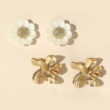 2pairs Flower Shaped Stud Earrings