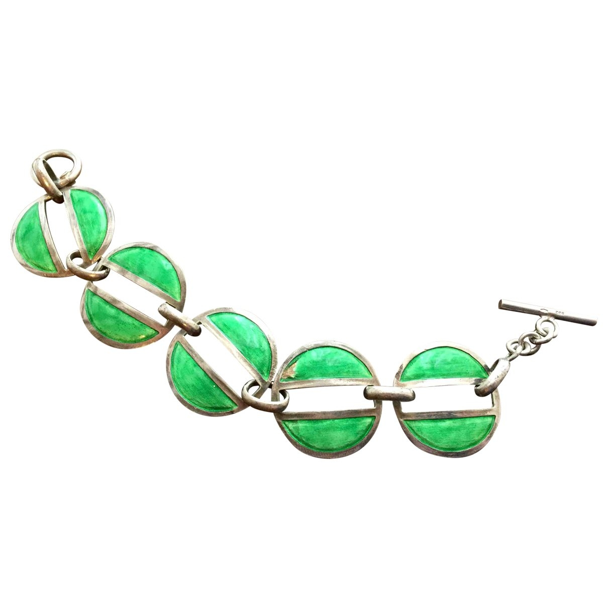 Non Signé / Unsigned Motifs Ethniques Green Silver bracelet for Women \N