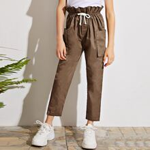 Hose mit Papiertaschen auf Taille, Kordelzug und Taschen Flicken