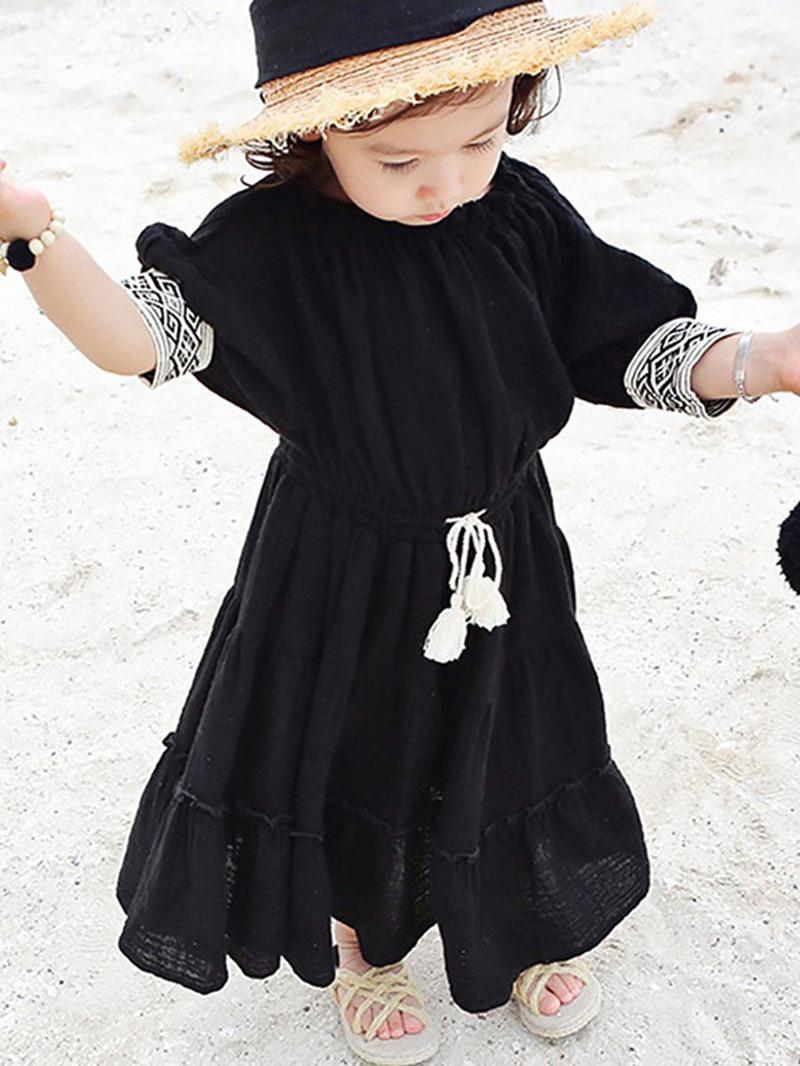 Ericdress Ruffles Slash Neck Ankle-Length Dress