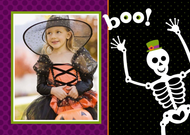 Halloween Photo Cards 5x7 Folded Cards, Standard Cardstock 85lb, Card & Stationery -boo!