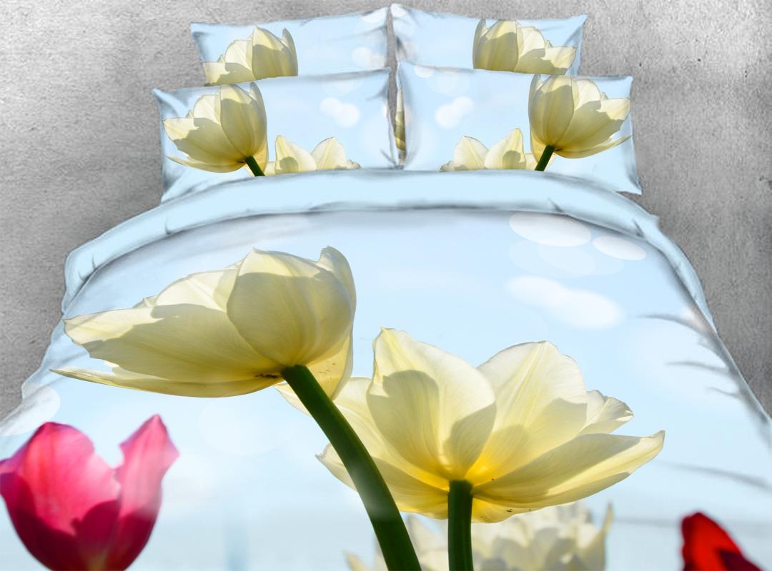 3D White Tulip Soft Lightweight Comforter 5Pcs Floral Warm Zipper Comforter Sets with Corner Ties
