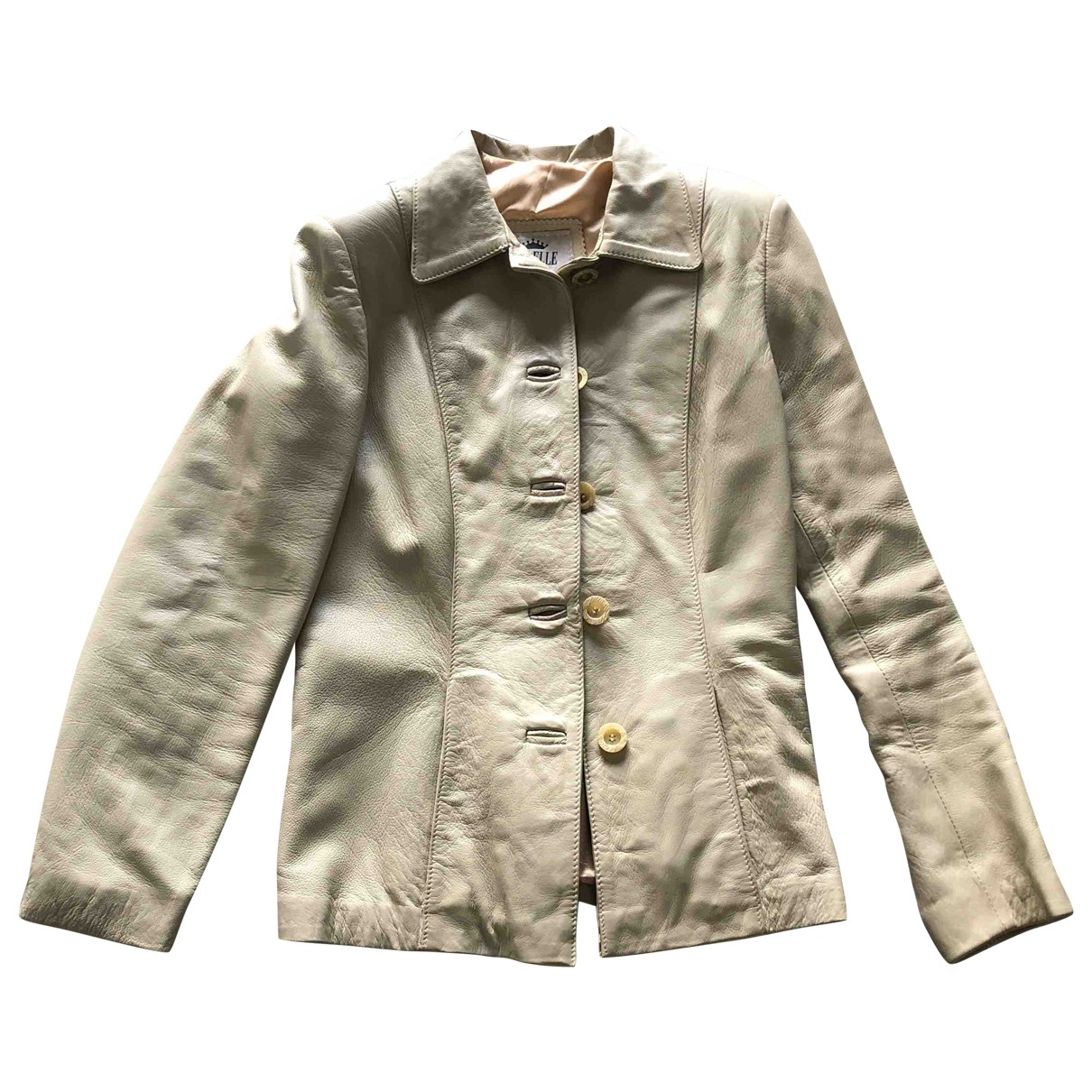 Non Signé / Unsigned \N White Leather jacket for Women 42 IT