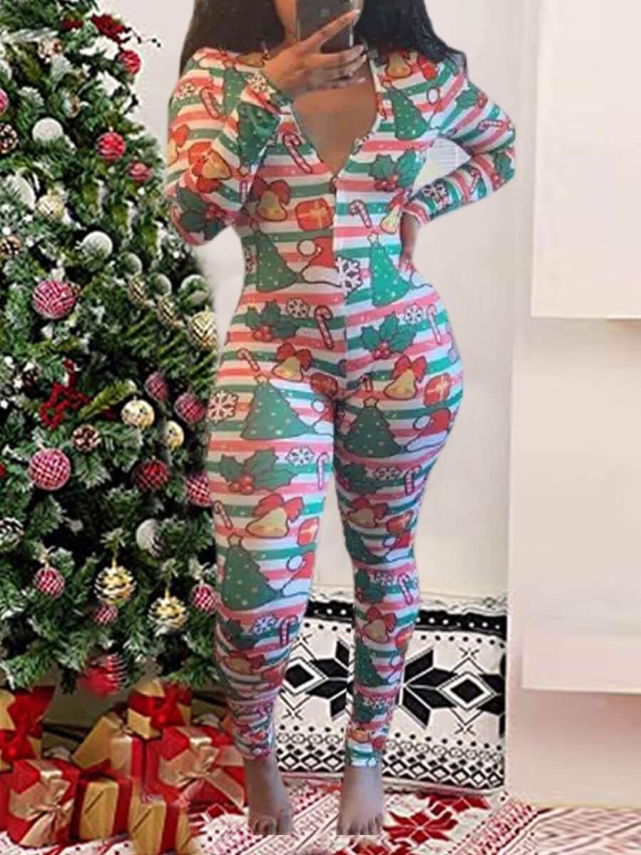 LW Lovely V Neck Christmas Day Print Red Sleepwear