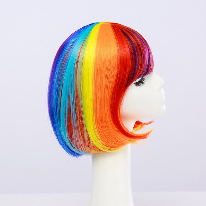 Anime Rainbow Wigs Colorful BOB Head Short Hair Full Bangs High Temperature Wire Headcover Cosplay