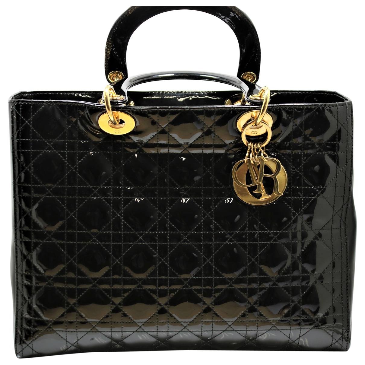 Dior My Lady Dior Handtasche in  Schwarz Lackleder