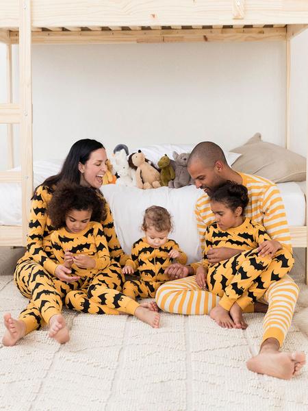 Milanoo Pijamas a juego con la familia, conjunto de dos piezas naranja con estampado de murcielago, disfraz de Cosplay, Halloween
