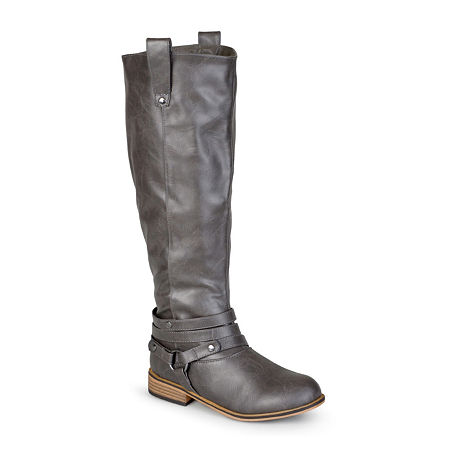 Journee Collection Womens Walla Wide Calf Riding Boots, 7 1/2 Medium, Gray
