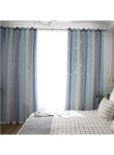 Modern Concise Style Three-colors Cloth and White Voile Sewing Together 2 Panels Blackout Curtains