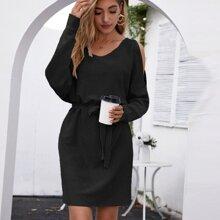 Cold Shoulder Batwing Sleeve Belted Sweater Dress