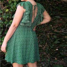 Plus Ruffle Trim Tie Back Allover Heart Print Dress