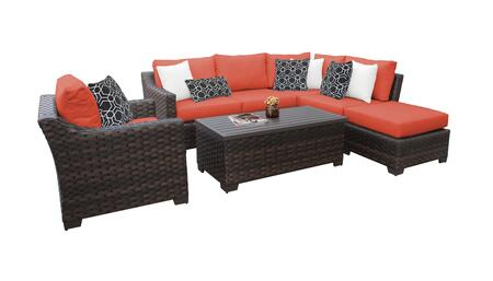 RIVER-07f-TANGERINE Kathy Ireland Homes and Gardens River Brook 7-Piece Wicker Patio Set 07f - 1 Set of Truffle and 1 Set of Persimmon