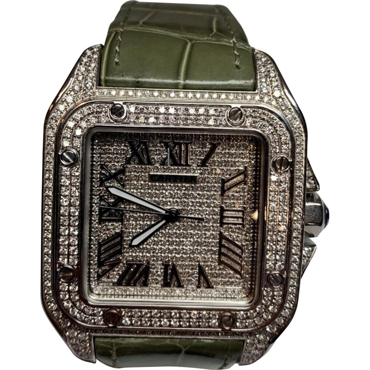 Cartier Santos 100 XL Uhr in  Grau Stahl