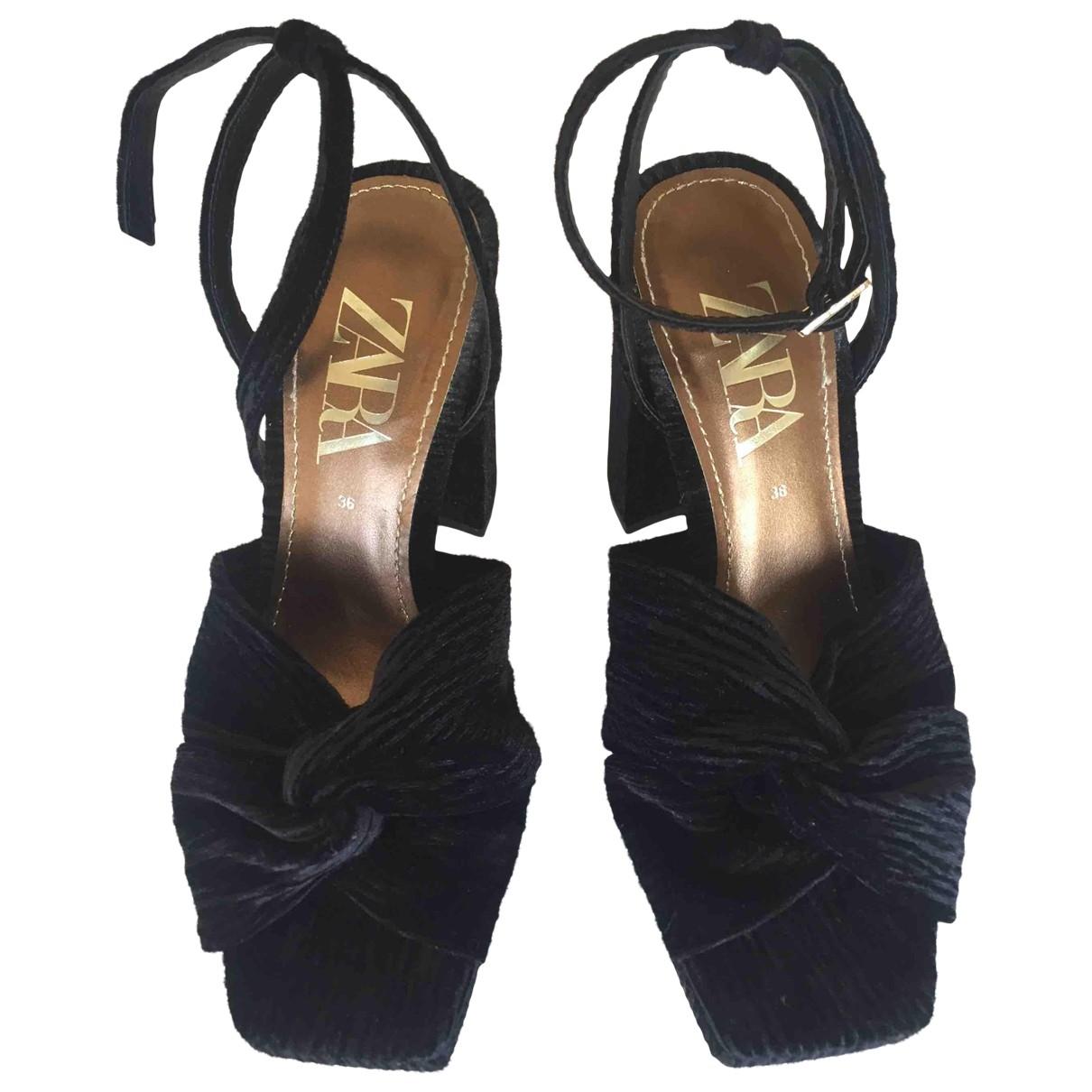Zara - Sandales   pour femme en velours - noir