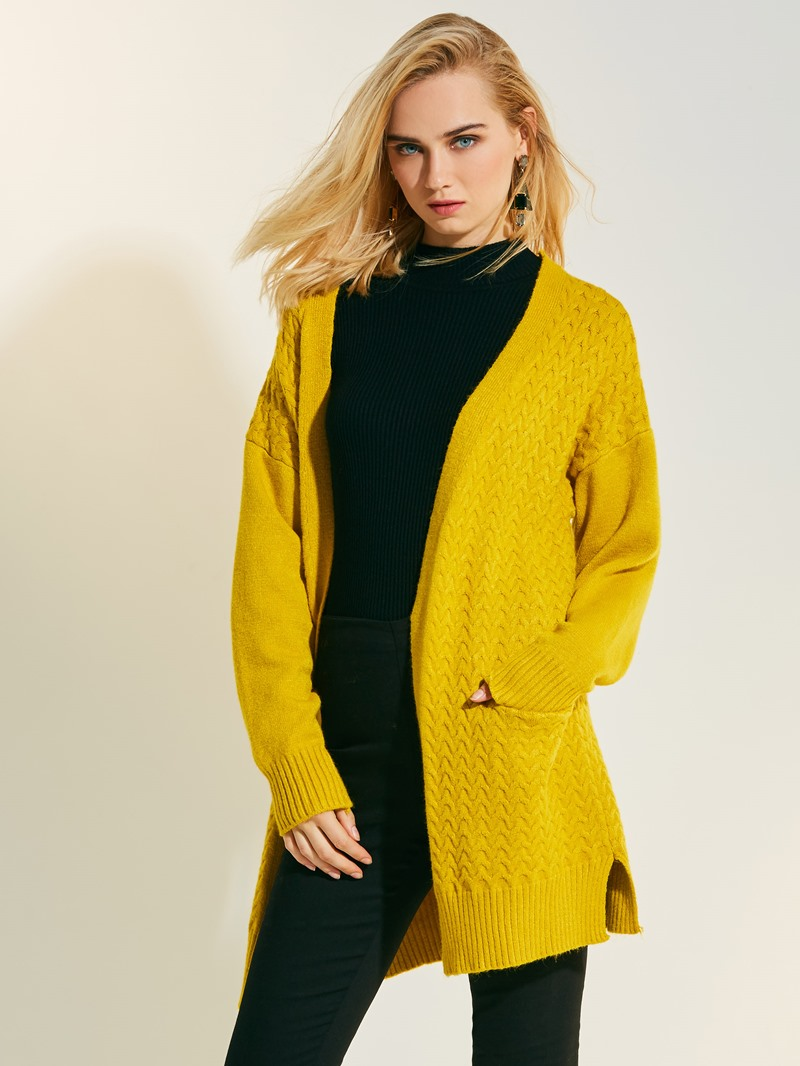 Ericdress Loose Plain Mid-Length Cardigan Knitwear