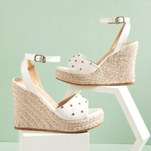 Studded Decor Quilted Espadrille Wedges