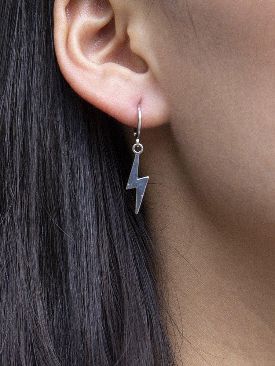 Lightning Pendant Huggie Drop Earrings