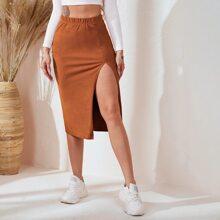 Elastic Waist Split Hem Skirt