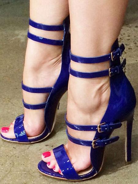 Milanoo Sandalias de mujer Tacon de aguja Correa de tobillo elegante Tallas grandes Zapatos azules profundos para oficina / fiesta