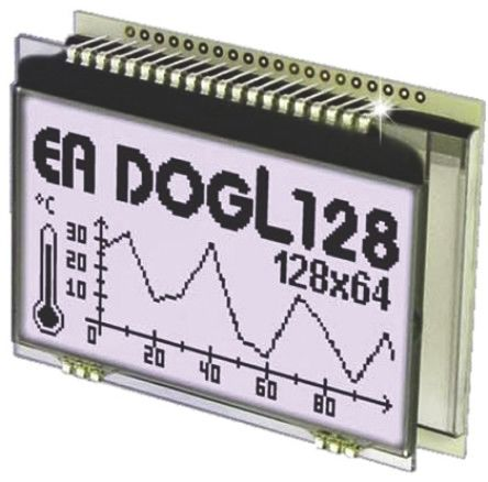 Electronic Assembly EA DOGL128W-6 Graphic LCD Display, Black on White, Transflective
