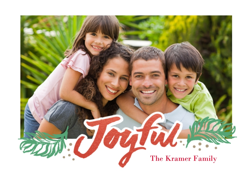 Holiday Photo Cards Flat Glossy Photo Paper Cards with Envelopes, 5x7, Card & Stationery -Very Joyful Red