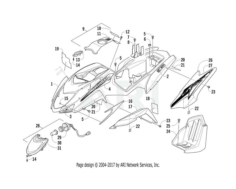 Arctic Cat OEM 2411-492 Decal Fender Rear Right Hand (300 Dvx)