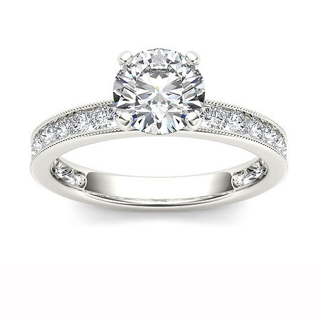 1 1/2 CT. T.W. Round White Diamond 14K Gold Engagement Ring, 9 , No Color Family