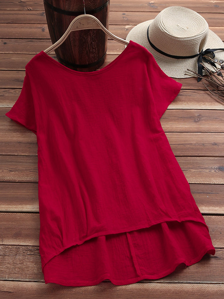 Solid Color Casual Round Neck Half Sleeve T-shirts For Women