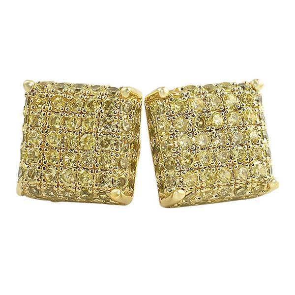 3D Square CZ Bling Bling Earrings
