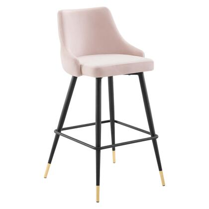 Adorn Collection EEI-3909-PNK Bar Stool with Black Tapered Legs  Footrest Support  Dense Foam Padding and Stain-Resistant Velvet Polyester Upholstery