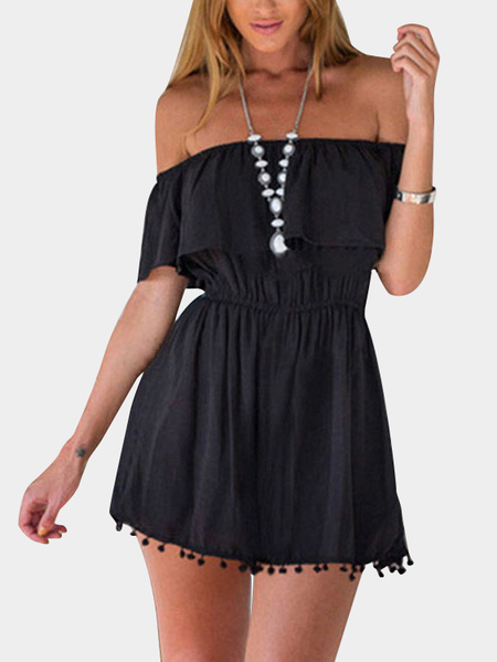 Yoins Black Front Layered Off Shoulder Dresses