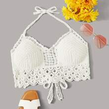 Crochet Scalloped Cropped Halter Top