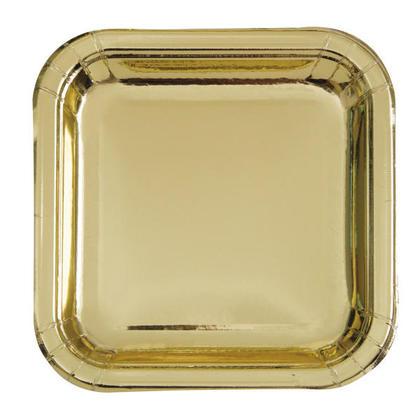 Paper Dinner Plate Square Foil Gold 9