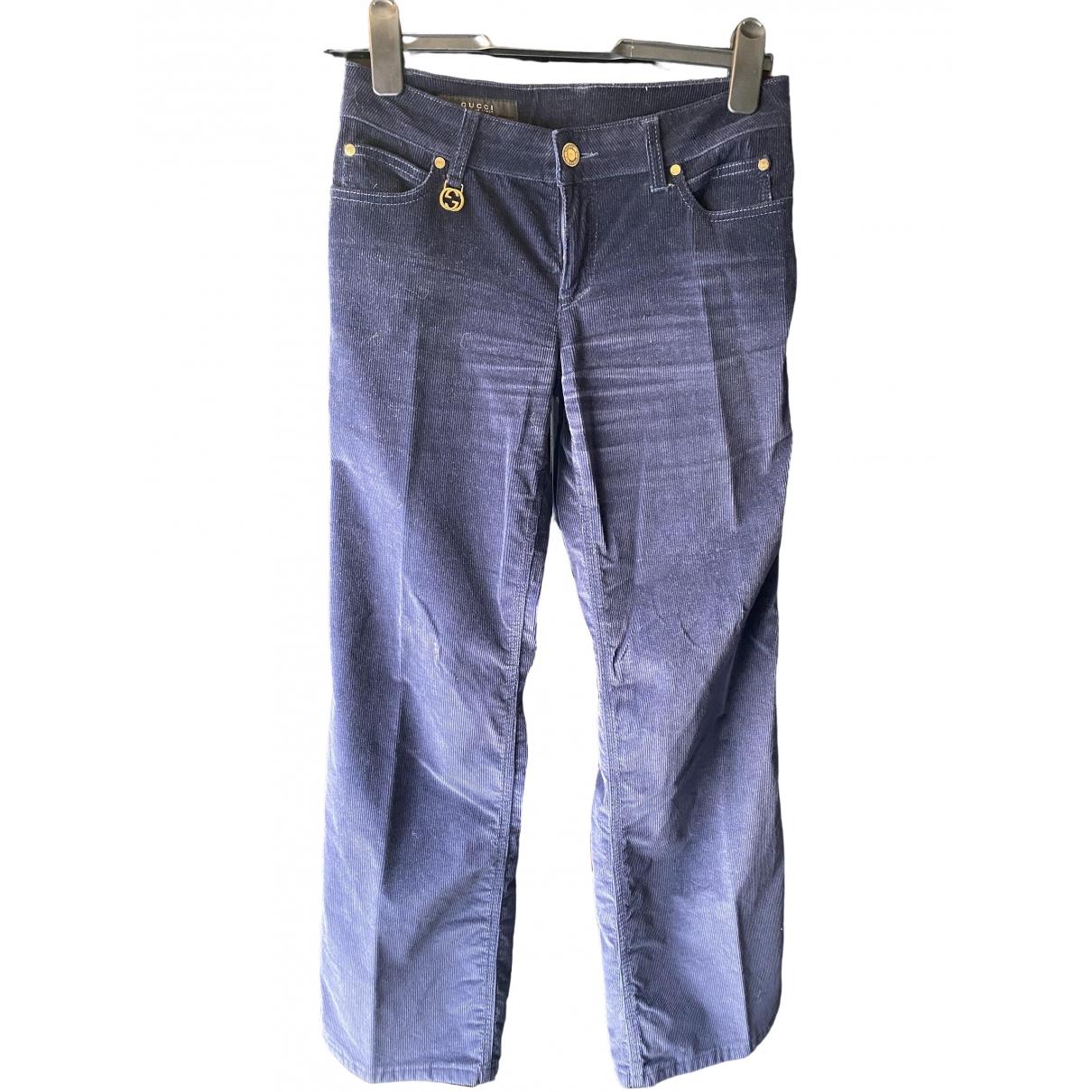 Gucci \N Navy Velvet Trousers for Women 38 IT