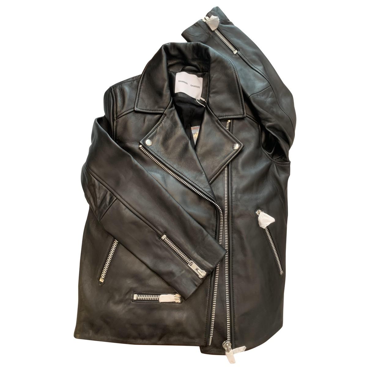 Samsoe & Samsoe - Veste   pour femme en cuir - noir