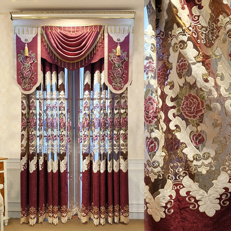 European Royal Style Hollowed-out Embroidered 2 Panels Curtains