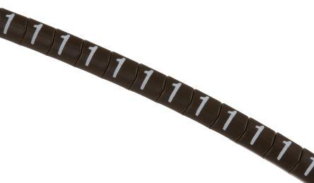 HellermannTyton Helagrip Slide On Cable Marker, Pre-printed 1 White on Brown 1 → 3mm Dia. Range