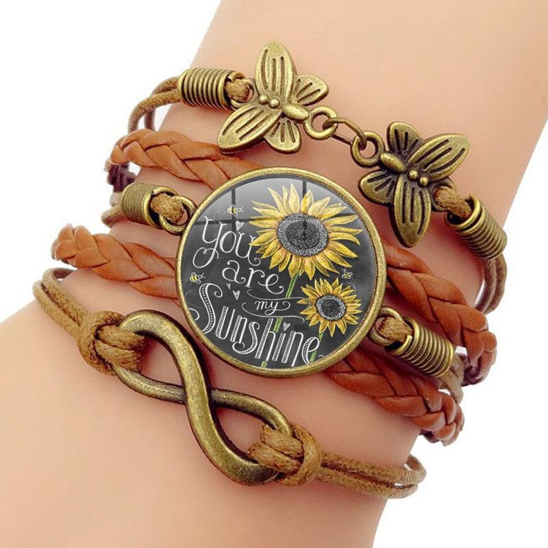 Retro Butterfly Infinity Symbol Braided Bracelet Sunflower Printed Time Gemstone Multi-layer Bracelet