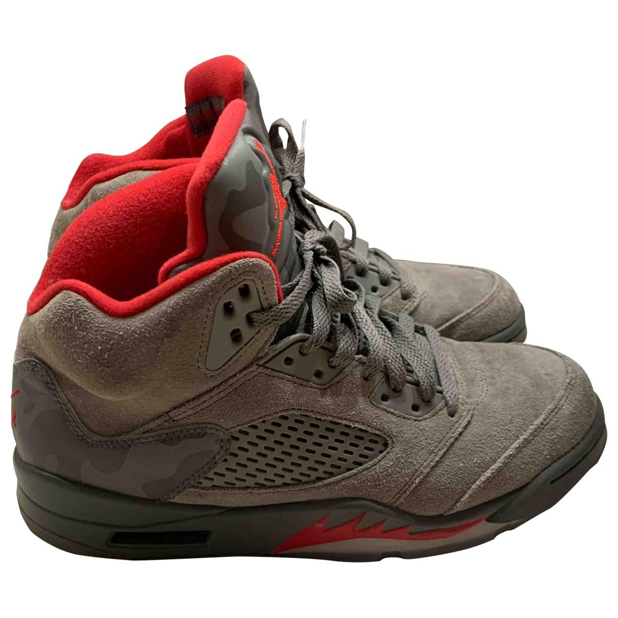 Jordan Air Jordan 5 Sneakers in  Grau Leinen