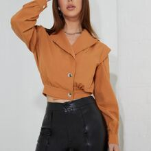 Notched Collar Single Breasted Jacket
