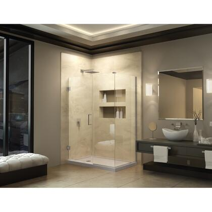 SHEN-24375340-04 Unidoor Plus 37 1/2 In. W X 34 3/8 In. D X 72 In. H Frameless Hinged Shower Enclosure  Clear Glass  Brushed