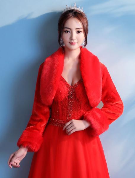 Milanoo Chal de novias de pelo de conejo de Angora rojo de cuello vuelto con manga larga Fiesta de bodas