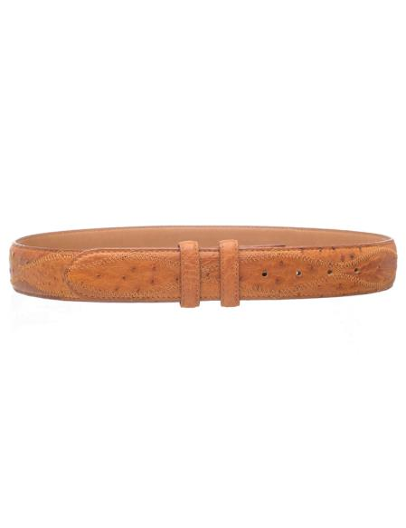 Men's Patchwork Genuine Ostrich Quill Cognac Skin Belt