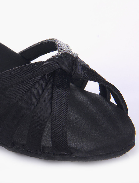 Milanoo Quality Black Soft Sole Open Toe Satin Ballroom Shoes For Kids