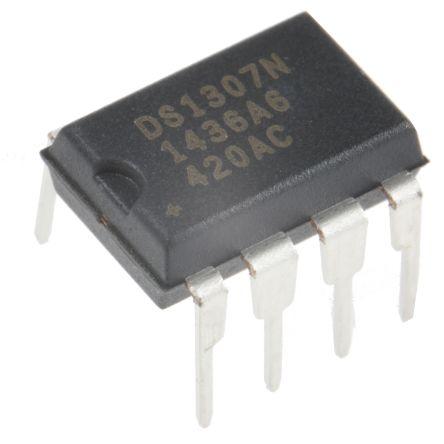 Maxim Integrated DS1307N+, Real Time Clock (RTC), 56B RAM Serial-I2C, 8-Pin PDIP (50)