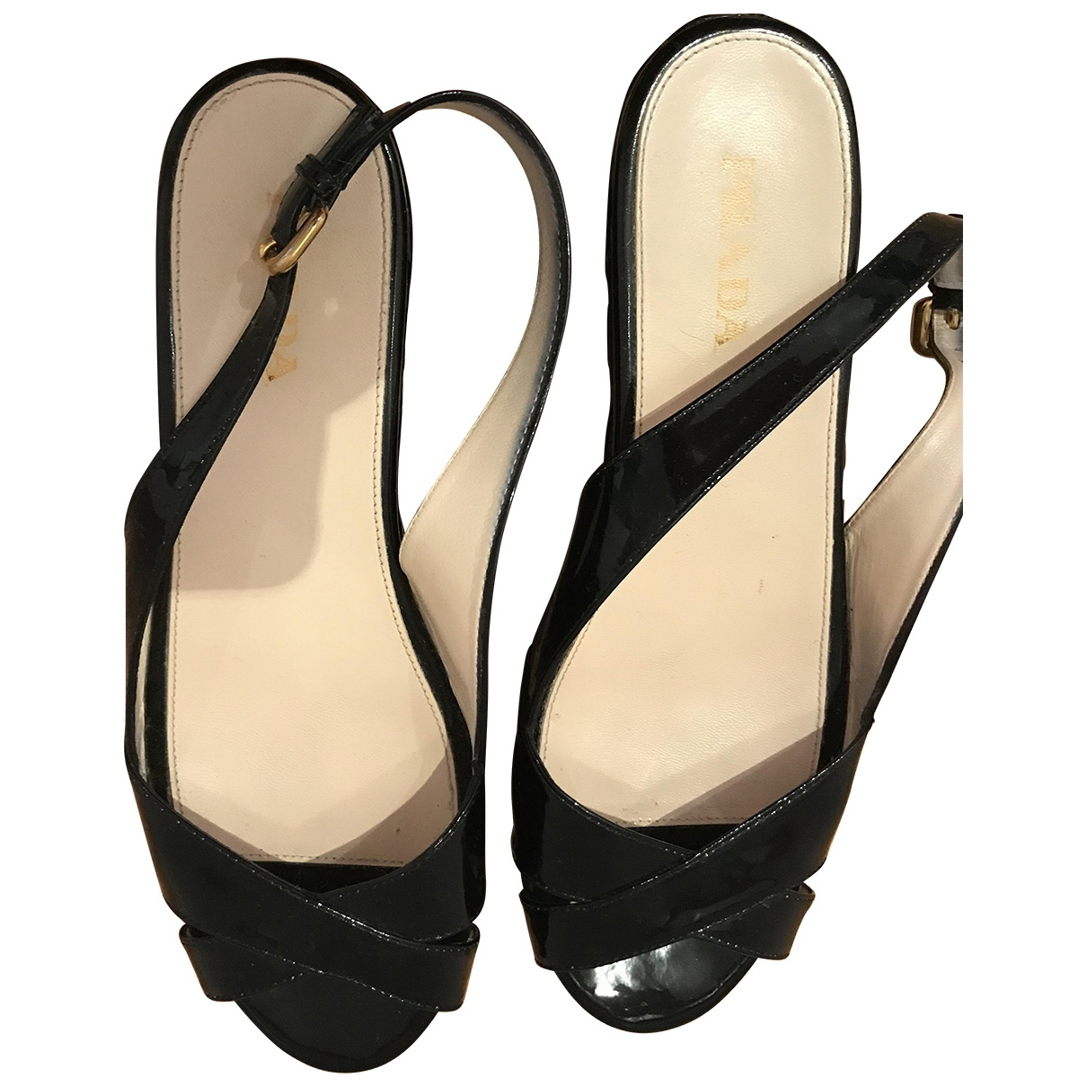 Prada \N Black Patent leather Sandals for Women 40 EU