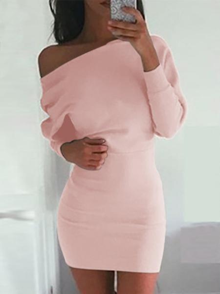 Yoins One Shoulder Bat Long Sleeves Mini Dress in Pink