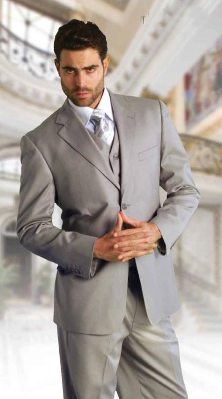 2 Button Vested Grey 3 Piece Extra Fine Italian Fabric Suit